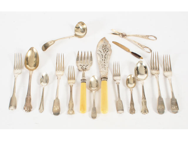 A composite part canteen of 19th century silver King's pattern flatware