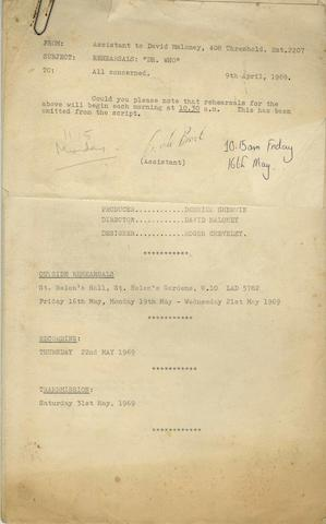 Doctor Who: A rehearsal script for 'Dr Who And The War Games', for rehearsals May 1969,