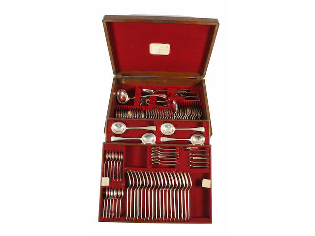 A silver canteen of Old English pattern flatware By Messrs Hutton, Sheffield, 1917-28,  (qty)