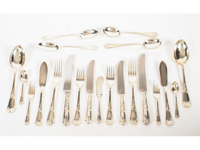 A canteen of silver flatware for six place settings By Walker & Hall, Sheffield, 1974,  (73)
