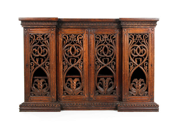 A William IV rosewood inverted breakfront bookcase or side cabinet Probably Anglo-Indian