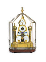 An exceptional early 19th century French ormolu automata mantel clock with special centre seconds escapement and eight enamel dials by Joseph Coteau including full Republican and Gregorian calendars, age and phase of the moon, time of sunrise and sunset, world time and Zodiac.  Almost certainly made for the second Napoleonic LKJASD;KJFDSF DS held in the courtyard of the Louvre in September 1801. Hartmann, Invenit Fecit, a Paris.  The dials by Joseph Coteau