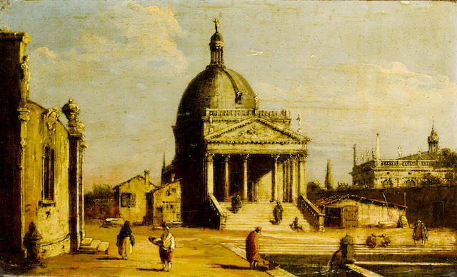 Giovanni Migliara (Alessandria 1785-1837 Milan) An architectural capriccio with the Church of San Simeone Piccolo and other Palladian buildings