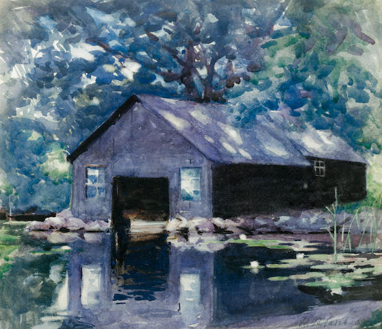 Francis Campbell Boileau Cadell, RSA RSW (British, 1883-1937) Boat house at Kindar 27.5 x 31.7 cm. (10 3/4 x 12 1/2 in.)