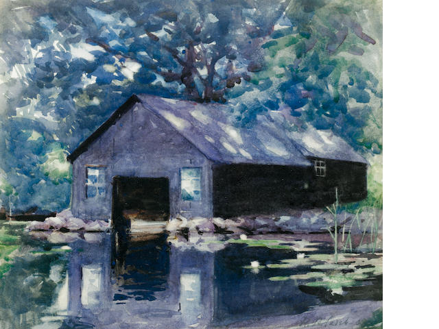 Francis Campbell Boileau Cadell (Scottish, 1883-1937) Boat house at Kendar 27.5 x 31.7 cm. (10 3/4 x 12 1/2 in.)
