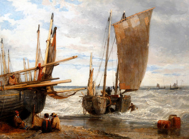Circle of Edward William Cooke, RA (British, 1811-1880) Fishing vessels and fishermen on the shore