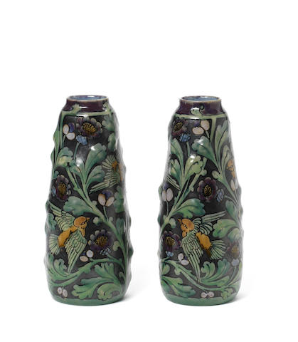 Francis Pope for Doulton Lambeth An Impressive Pair of Relief Vases with Birds, 1916