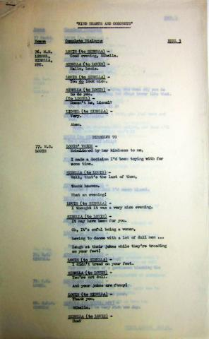 Ealing Studios: A collection of scripts and correspondence,  including: a part script for Kind Hearts And Coronets; quantity