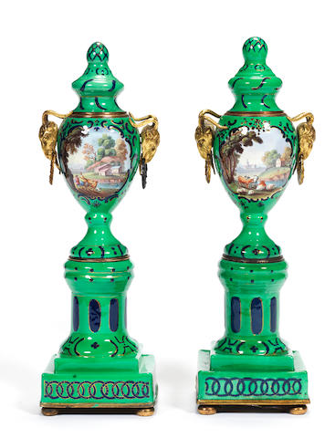 A pair of South Staffordshire enamel cassolettes, circa 1765-75,