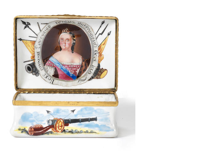 Rectangular snuff box for the batter of Kundersdorf, 1765, Czarina Elizabeth inside
