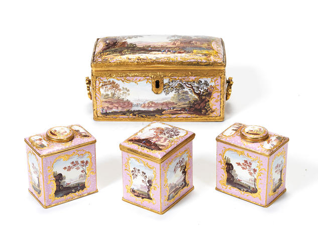 An important South Staffordshire enamel tea caddy and three tea canisters, circa 1770