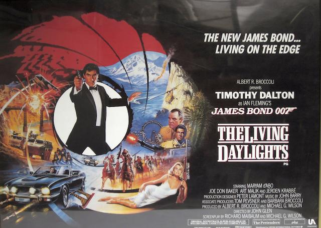 A collection of eight British Quad posters including Timothy Dalton as James Bond and Harrison Ford as Indiana Jones, comprising: 8