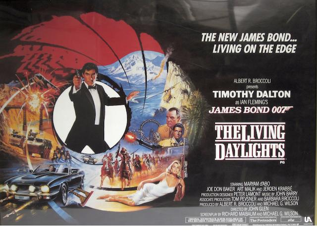 A collection of eight British Quad posters including Timothy Dalton as James Bond and Harrison Ford as Indiana Jones,  comprising:8