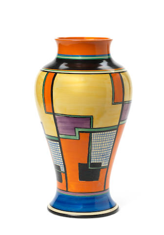Clarice Cliff for Newport Pottery a Large 'Meiping' Shape Vase in the 'Football' Pattern, circa 1930