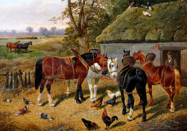 Circle of John Frederick Herring, Jnr. (British, 1815-1907) Horses, chickens and birds by a barn
