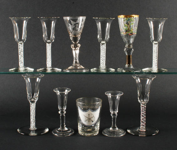 A group of glasses, 18th and 19th century