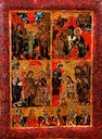 Greek School, probably circa 1800 An icon, depicting The Annunciation, The Nativity, The Presentation in the Temple and The Baptism of Christ, with six male saints beneath