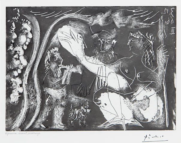 Pablo Picasso (Spanish, 1881-1973) Au Theatre: Couple Avec un Flutiste et un Petit Chien, from 3 December 1966 III (Bloch 1431) Etching, drypoint with aquatint, 1966, on wove, with the artist's stamped signature, inscribed 'epreuve avant acierage' in pencil, one of three proofs before steelfacing, aside from the edition of 50, 220 x 324mm (8 7/8 x 12 3/4in)(PL)