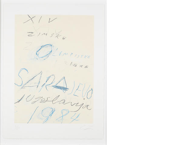 Cy Twombly (American, born 1928) Sarajevo Etching, aquatint and lithograph printed in colours, 1984, on wove, signed and numbered 5/150 in pencil, 755 x 545mm (29 3/4 x 21 1/2in)(PL)