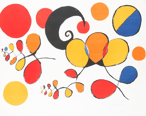Alexander Calder (American, 1898-1976) Loops and Balloons Lithograph printed in colours, on Arches, signed and inscribed 'EA' in pencil, aside from the edition of 100, 601 x 762 mm (23 3/4 x 30 in) (SH)