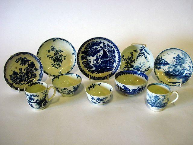 A collection of Worcester teabowls, saucers and coffee cups Circa 1760-80