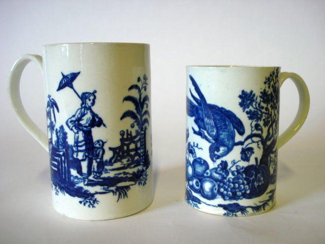 Two Worcester blue printed mugs in the style of Robert Hancock Circa 1760-70