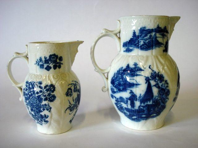 Two Caughley cabbage leaf mask jugs Circa 1770