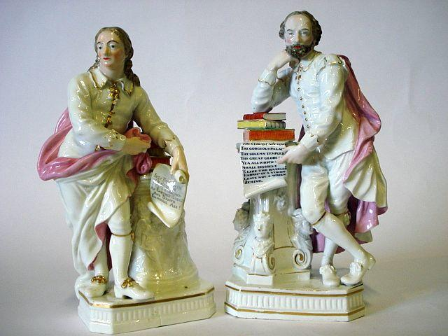 A pair of Derby figures of John Milton and William Shakespeare Circa 1770-75