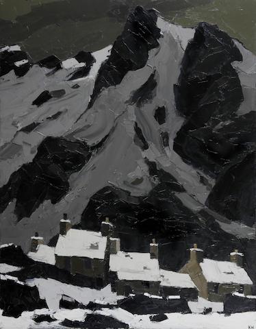 """Sir Kyffin Williams (British, 1918-2006) """"Snow at Gwastadnant"""""""