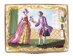 Erotic snuff box, double lid, fine figure panels,(minor repair)