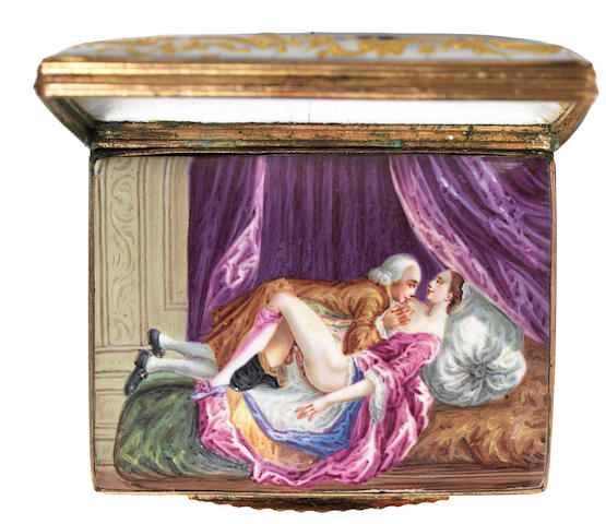A Birmingham or South Staffordshire enamel erotic double-lidded snuff box, circa 1765