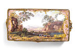 Tea caddy containing three tea cannisters, pink ground and landscapes