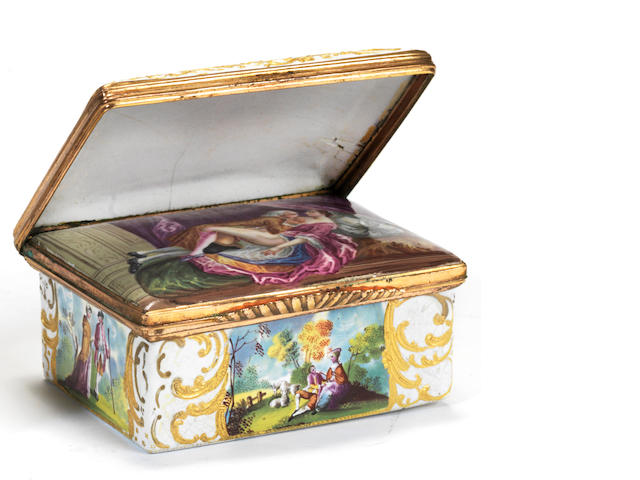 A Birmingham or South Staffordshire enamel erotic double-lidded snuff box