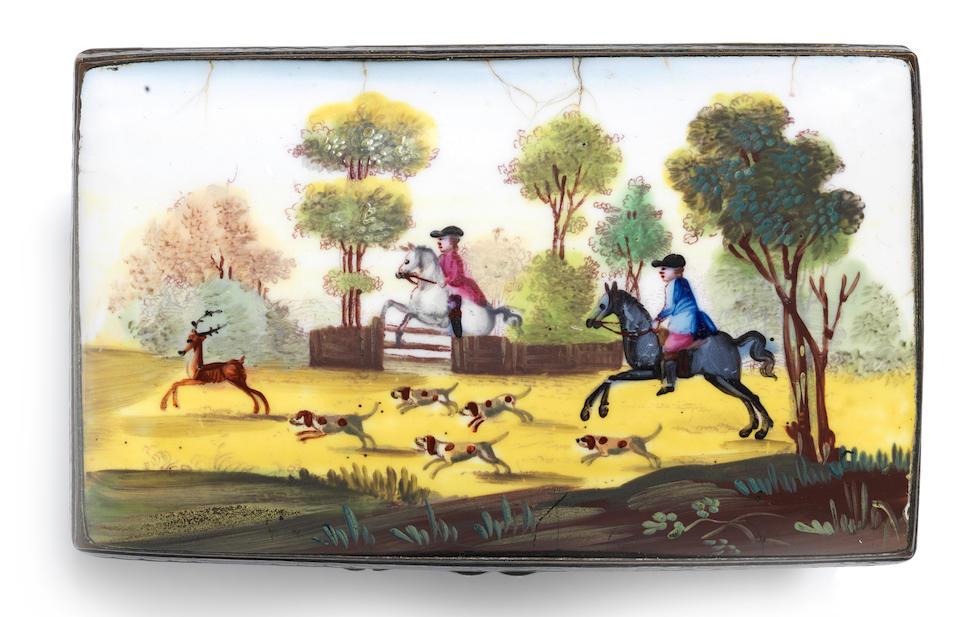 A South Staffordshire enamel erotic double-lidded snuff box, circa 1770-8