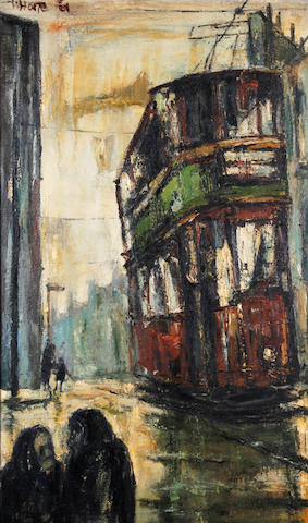 Herbert Bannister Whone (Scottish, born 1925) Tram in Rain, Maryhill Road, Glasgow