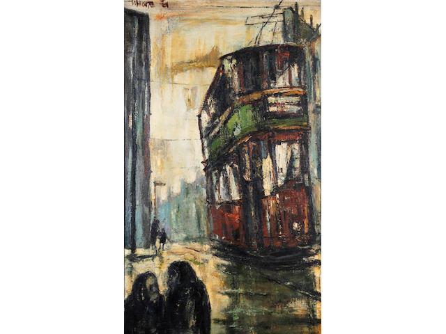 Herbert Bannister Whone (Scottish, born 1925) Tram in Rain, Maryhill Road, Glasgow