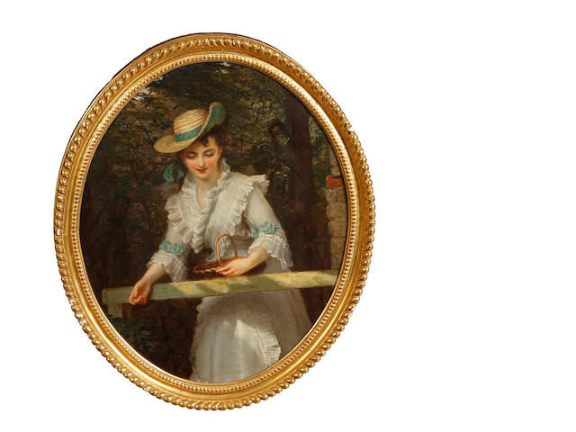 Circle of William Powell Frith, RA (British, 1819-1909) A young lady wearing a white dress and straw hat with green ribbon and carrying a basket, standing before woodland
