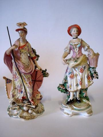 An porcelain figure of Britannia, probably Chelsea  Circa 1780