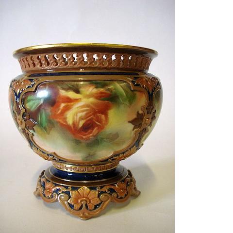 A Worcester Hadley's rose bowl Circa 1900