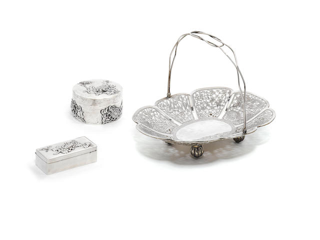 A Chinese  silver swing-handled basket, by Wang Hing, also with character mark and 90, together with two Chinese silver boxes, by Wang Hing,  (3)