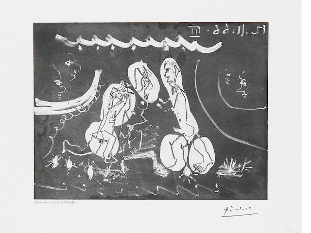 Pablo Picasso (Spanish, 1881-1973), (B. 1414; Ba. 1429) REFERENCE Femme Nue Entre Deux Hommes, from Sous les Feux de la Rampe  Etching and aquatint, 1966, on BFK Rives, with the artist's stamped signature, inscribed 'epreuve avant acierage' in pencil, one of three proofs before steelfacing, aside from the edition of 50, 220 x 324mm (8 7/8 x 12 3/4in)(PL)