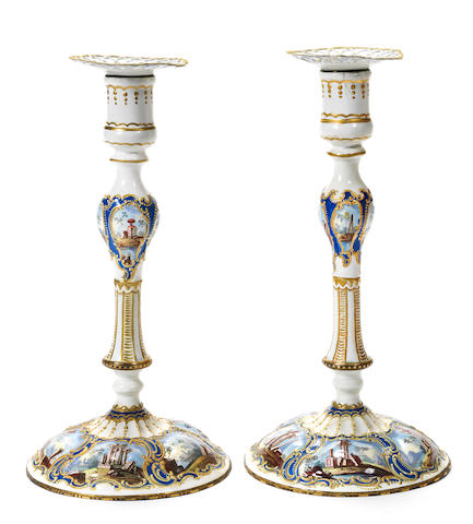 Pair of large candlesticks and sconces (restored extensively)