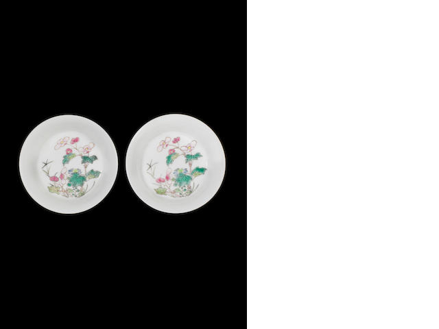 A pair of famille rose dishes (one flake off each)
