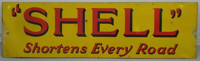 "A ""Shell"" Shortens Every Road enamel sign"