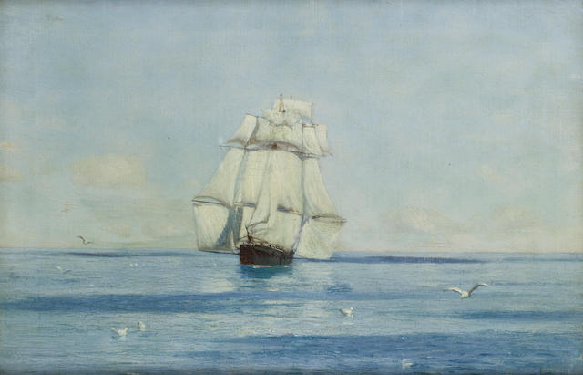 Thomas Jacques Somerscales (British, 1842-1927) A Corvette in light airs with stunsails set
