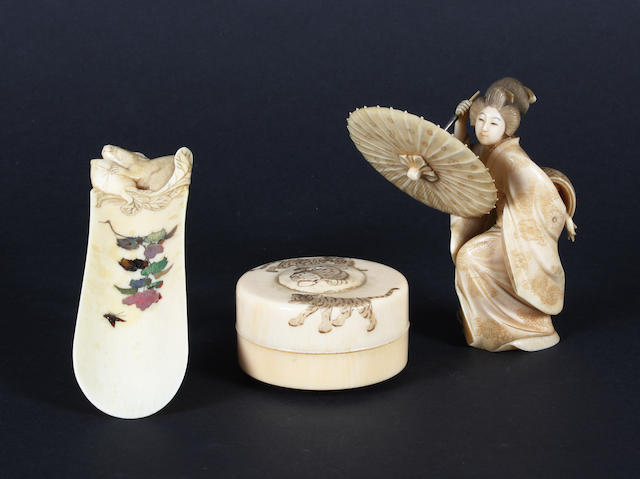 A Japanese carved ivory figure of a Bijin, an ivory and shibayama shoe horn and a circular box and cover, Meiji period