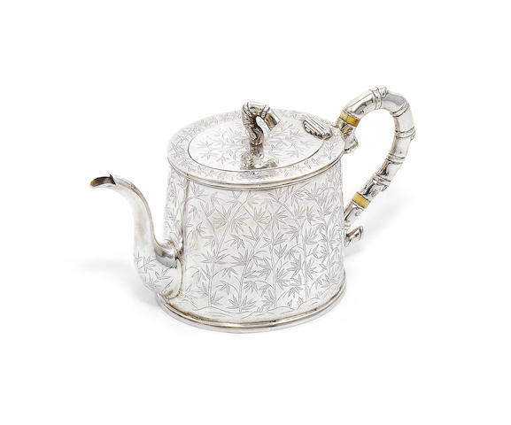 A Chinese export silver teapot, by Wang Hing, also marked 90,