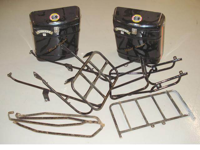 A Vincent touring luggage rack and pair of fibreglass panniers,