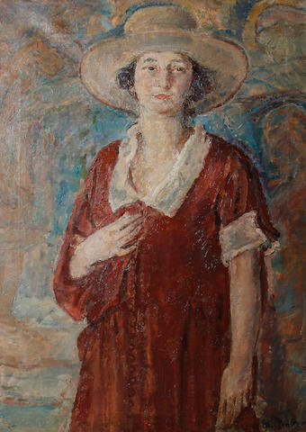 Dame Ethel Walker, ARA RBA RP DBE (British, 1861-1951) Portrait of a woman in a red dress and hat unframed