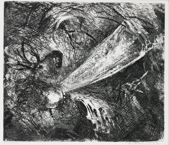 Arthur Boyd (1920-1999), Arthur Boyd- Bride and the beast print Bride and Beast's Head Etching, on wove, signed and numbered 1/25 in pencil, 345 x 395 mm (13 1/2 x 15 1/2 in) (SH)